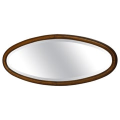 Antique Oval Wood Framed Wall Mirror