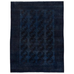 Antique Overdyed Afghan Ersari Rug, Dark Blue, Navy and Black Tones, circa 1920s