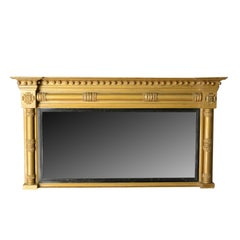 Antique Overmantel Mirror, English, Georgian, Giltwood Gesso, Wall, circa 1800