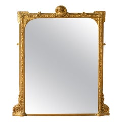 Antique, Overmantel Mirror, Italian, Classical, Gilt Gesso, Wall, circa 1850