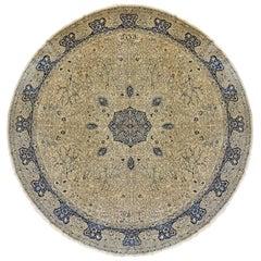 Antique Oversize Indian Amritsar Round Rug