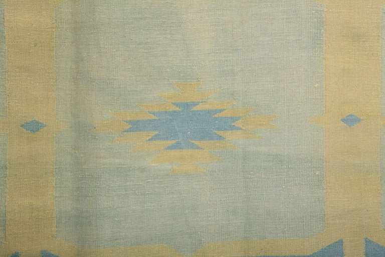Agra  Antique Oversize Indian Cotton Pastel Dhurrie  For Sale