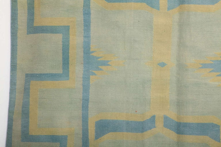 Hand-Woven  Antique Oversize Indian Cotton Pastel Dhurrie  For Sale
