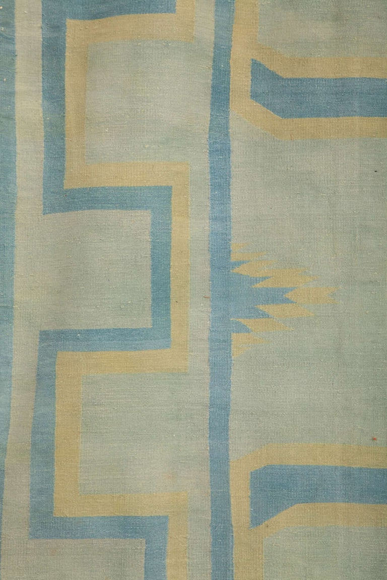 Wool  Antique Oversize Indian Cotton Pastel Dhurrie  For Sale