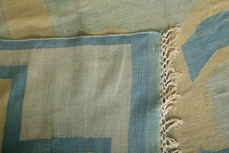 Antique Oversize Indian Cotton Pastel Dhurrie  For Sale 1