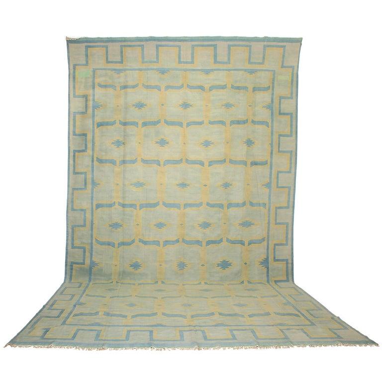 Antique Oversize Indian Cotton Pastel Dhurrie  For Sale