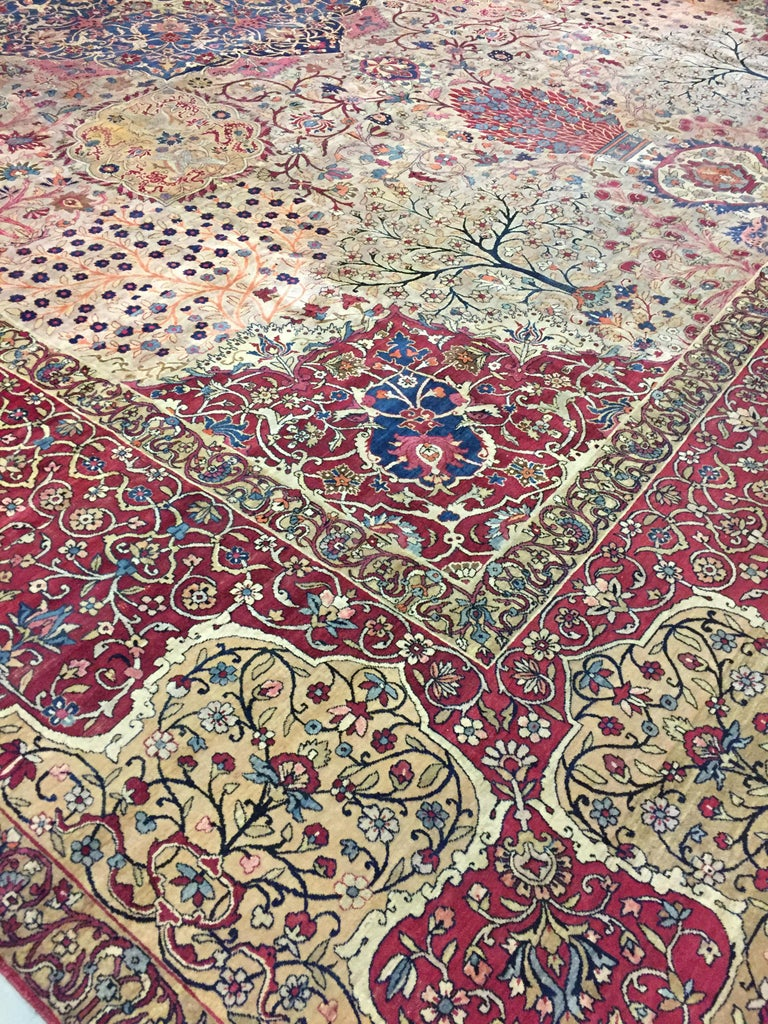 Antique Persian Kerman carpet, circa 1890. Kerman is the capital of the province in south Persia of the same name. Situated 2000 meters above sea level. As elsewhere in Persia carpet weaving declined during the 18th century and was revived during