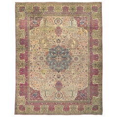 Antique Oversize Persian Kerman Rug Carpet, circa 1890