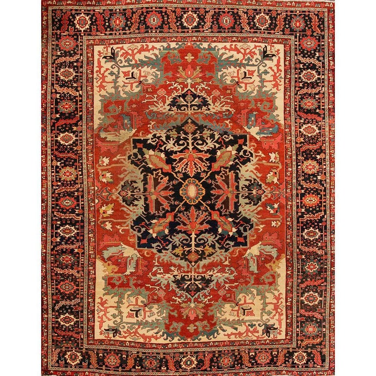 Antique Rust and Blue Persian Serapi Carpet For Sale at ...