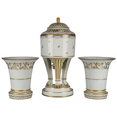 Antique Large Neoclassical Royal Vienna Porcelain 3 Piece Garniture Set, c 1890
