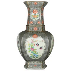 Antique Oversized Chinese Export Hand Painted Porcelain Vase, 19th Century