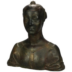 Antique Oversized Classical Plaster Sculptural Bust of Woman, Circa 1890