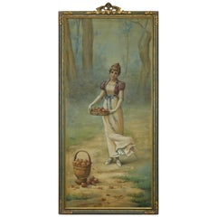 Antique Oversized Framed Tapestry Painting of Young Woman & Fruit, c 1900