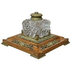 Antique Oversized French Inkwell on Oak Base with Bronze Mounts, circa 1890