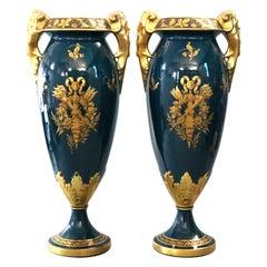 Antique Oversized French Limoges Figural Gilt Porcelain Vases, Jacob Petit