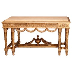 Antique Oversized French Empire Style Giltwood Marble Top Parlor Table 20th C