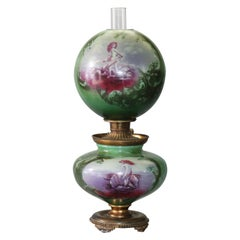 Antique Oversized Gone with the Wind Lamp, Hand-Painted Scenic with Mermaid
