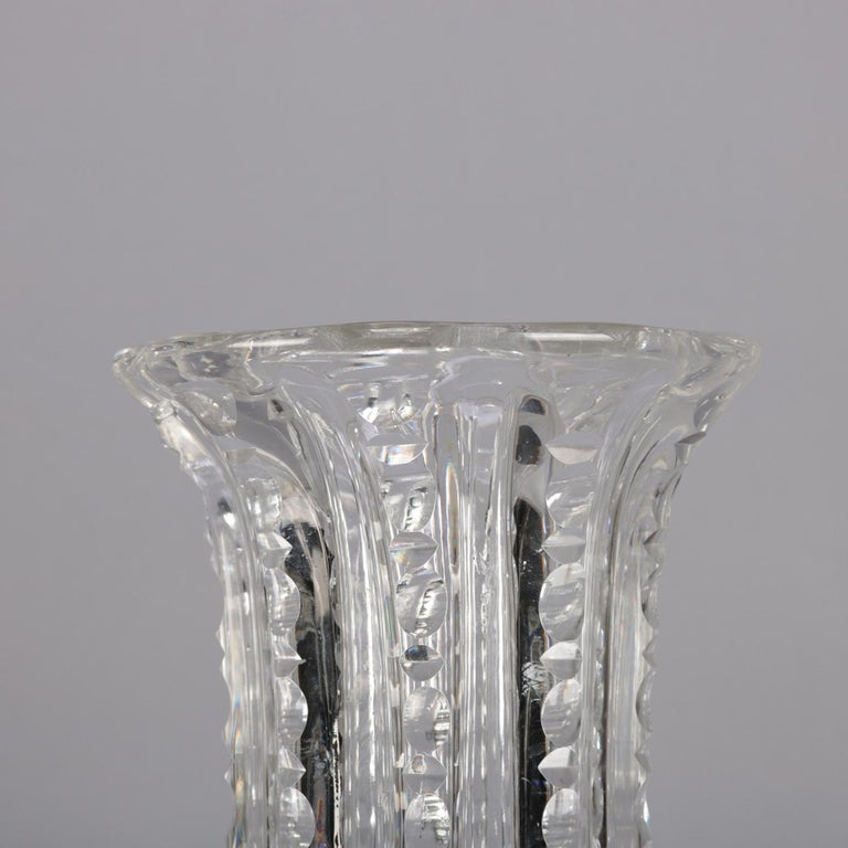 Antique Oversized Hawkes School Ribbed Glass Flower Vase, circa 1900 For Sale 2