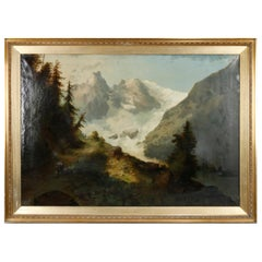 Oversized Hudson River School Landscape Snowy Mountains Painting, circa 1900