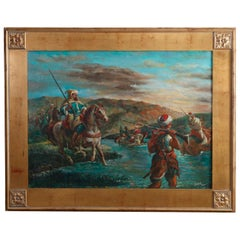 Antique Oversized Oil Painting, Russian Soldiers on Horseback, by Dakar, 20th C