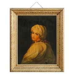 Antique Oversized Old Master Copy Chromolithograph Portrait of Woman, c1890