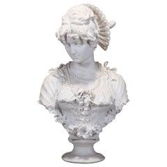 Antique Monumental Parian Enrico Lapini Bust Sculpture of Lucia Mondella, c 1893
