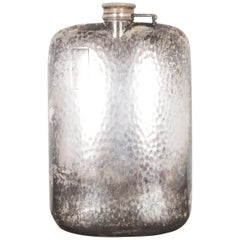Antique Oversized Silver Plated Monogrammed Flask, circa 1920