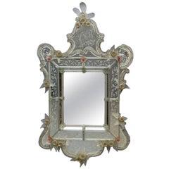 Antique Oversized Venetian Wall Mirror, Monogrammed, circa 1900