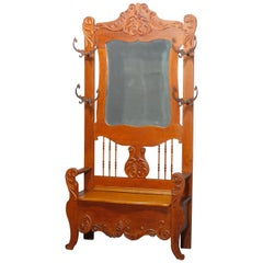 Antique Oversized Victorian Carved Oak Lift-Top Hall Seat, Circa 1890
