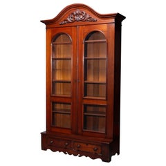 Antique Oversized Victorian Carved Walnut Double Door Bookcase, Circa 1880