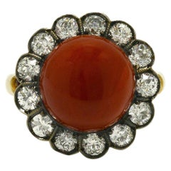 Antique Ox Blood Coral Cocktail Ring Diamond Dome Victorian Round Cluster Halo