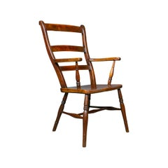 Antique Oxford Elbow Chair, Victorian, Windsor, Lath Back, Armchair, Elm