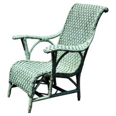 Antique Paddle Arm Large Wicker Lounge Chair