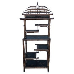 Antique Pagoda Style Bamboo Shelf