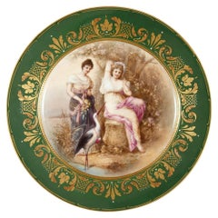 Antique Painted and Gilt Royal Vienna Porcelain Plate