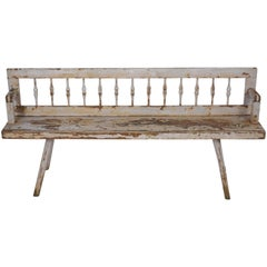 Antique Distressed Painted Bench
