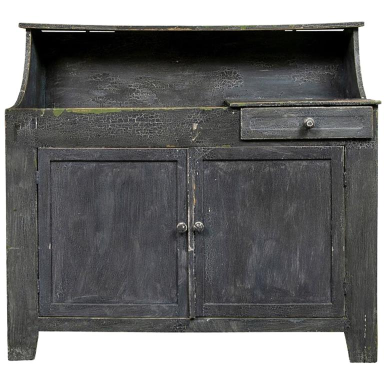 Antique Painted Cottage Cabinet with Dry Sink For Sale