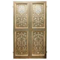 Antique Painted Double Door, Grey and Blue Baroque Motifs, 18th Century, Italy