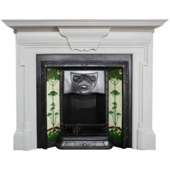 Antique Painted Edwardian Cast Iron Fire Surround in the Georgian Manner