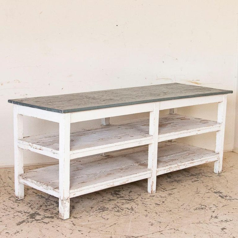 Hungarian Antique Painted Farm Work Table with Zinc Top, Good Kitchen Island or in Green H For Sale