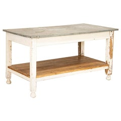 Antique Painted Farm Work Table with Zinc Top, Good Kitchen Island or in Green H