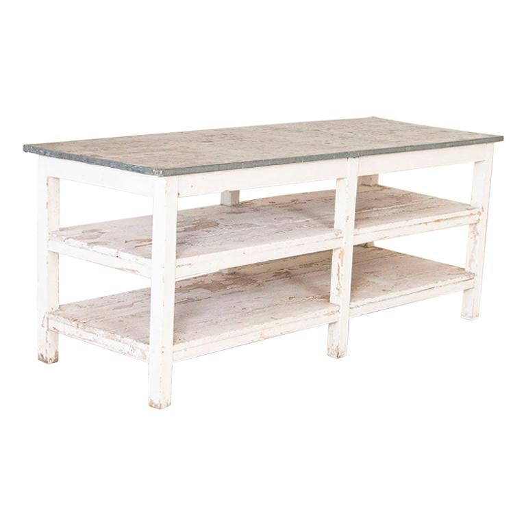 Antique Painted Farm Work Table with Zinc Top, Good Kitchen Island or in Green H For Sale