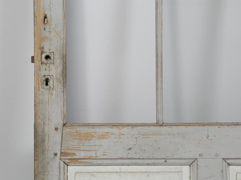 Antique Painted French Door In Fair Condition For Sale In Chicago, IL