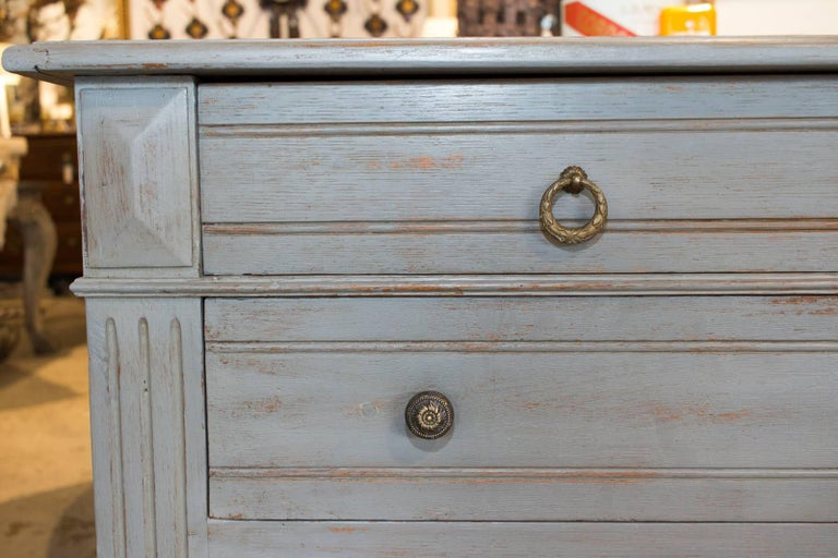 Oak Antique Painted French Empire Chest Of Drawers In Blue For
