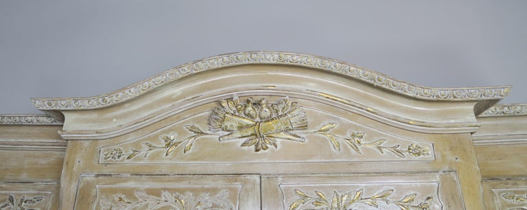 Hand-Carved Antique Painted French Louis XV Style Cabinet, circa 1940s For Sale