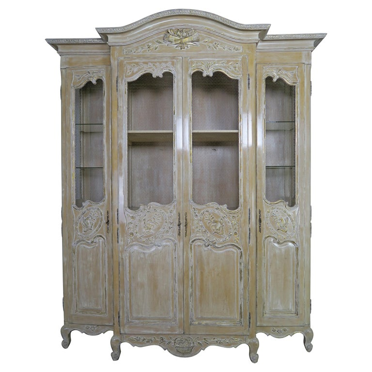 Antique Painted French Louis XV Style Cabinet, circa 1940s For Sale