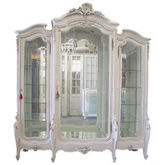 Antique Painted French Louis XV Style Carved Display Armoire