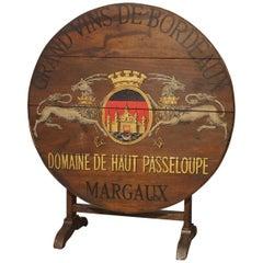 """Antique Painted French Wine Tasting Table, """"Grand Vins de Bordeaux"""""""