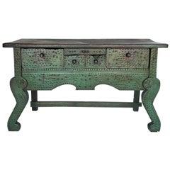 Antiker bemalter Nahuala-Tisch mit fünf Schubladen und Löwenfüßen aus Guatemala