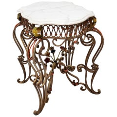Antique Painted Iron Marble-Top Table